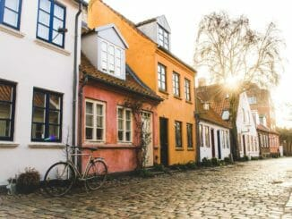 aarhus colored houses little street denmark.net
